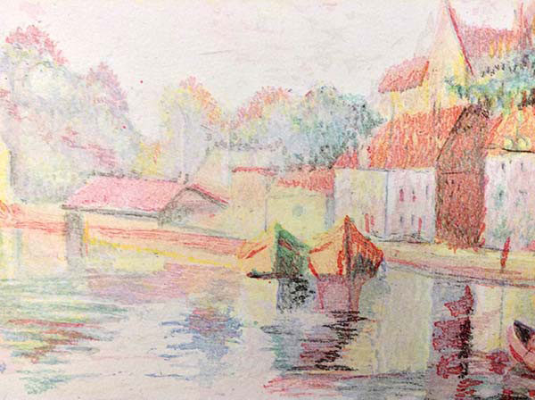 """Auxerre Cathedral River Bank by H. Claude Pissarro at Art Leaders Gallery, voted """"Michigan's Best Fine Art Gallery"""" is located in the heart of West Bloomfield. This full service fine art gallery is the destination for all your art and custom picture framing needs. Our extensive inventory of art includes styles ranging from contemporary to traditional. The gallery represents international, national, and emerging new talent as well as local Michigan artists."""
