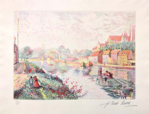"Auxerre Cathedral River Bank by H. Claude Pissarro at Art Leaders Gallery, voted ""Michigan's Best Fine Art Gallery"" is located in the heart of West Bloomfield. This full service fine art gallery is the destination for all your art and custom picture framing needs. Our extensive inventory of art includes styles ranging from contemporary to traditional. The gallery represents international, national, and emerging new talent as well as local Michigan artists."