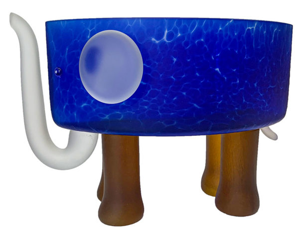 Blue, Glass, Elephant Bowl