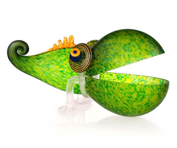 """""""Chameleon"""" by Borowski Glass Studio. Art Leaders Gallery, voted """"Michigan's Best Fine Art Gallery"""" is located in the heart of West Bloomfield. This full service fine art gallery is the destination for all your art and custom picture framing needs. Our extensive inventory of art includes styles ranging from contemporary to traditional. The gallery represents international, national, and emerging new talent as well as local Michigan artists."""