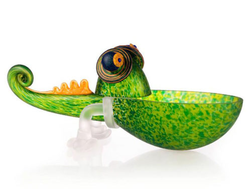 """""""Chameleon"""" Small Bowl by Borowski Glass Studio. Art Leaders Gallery, voted """"Michigan's Best Fine Art Gallery"""" is located in the heart of West Bloomfield. This full service fine art gallery is the destination for all your art and custom picture framing needs. Our extensive inventory of art includes styles ranging from contemporary to traditional. The gallery represents international, national, and emerging new talent as well as local Michigan artists."""