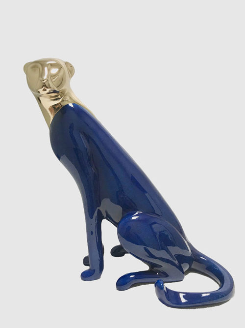 Blue and Gold Cheetah Sculpture