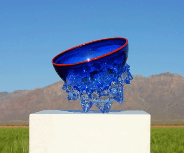"""Cobalt with Red Rim Thorn Bowl by Andrew Madvin at Art Leaders Gallery, voted """"Michigan's Best Fine Art Gallery"""" is located in the heart of West Bloomfield. This full service fine art gallery is the destination for all your art and custom picture framing needs. Our extensive inventory of art includes styles ranging from contemporary to traditional. The gallery represents international, national, and emerging new talent as well as local Michigan artists."""