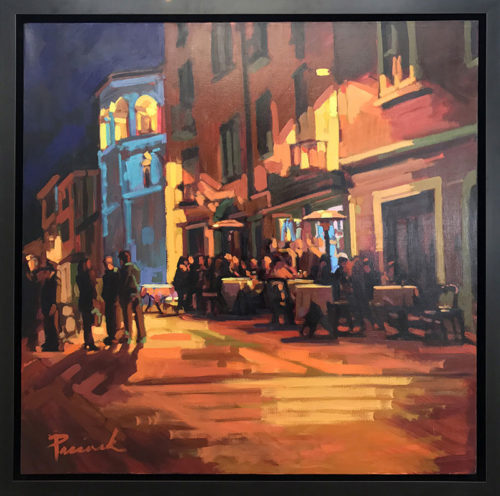 "Como Evening Cafe by Nick Paciorek at Art Leaders Gallery, voted ""Michigan's Best Fine Art Gallery"" is located in the heart of West Bloomfield. This full service fine art gallery is the destination for all your art and custom picture framing needs. Our extensive inventory of art includes styles ranging from contemporary to traditional. The gallery represents international, national, and emerging new talent as well as local Michigan artists."