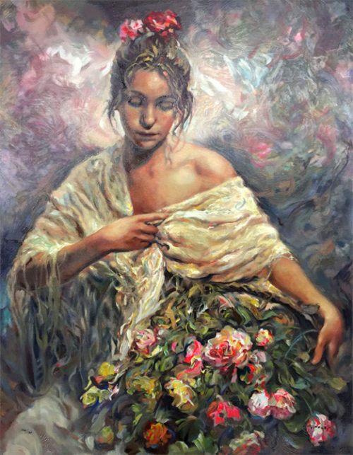 "El Manton Dorado by Jose Royo at Art Leaders Gallery, voted ""Michigan's Best Fine Art Gallery"" is located in the heart of West Bloomfield. This full service fine art gallery is the destination for all your art and custom picture framing needs. Our extensive inventory of art includes styles ranging from contemporary to traditional. The gallery represents international, national and emerging new talent as well as local Michigan artists."