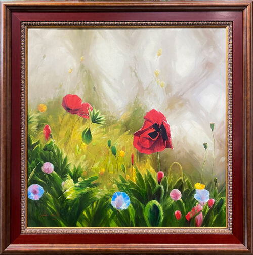 Floral Painting of Red Poppies