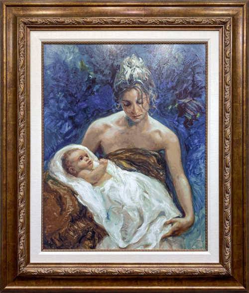 Oil Painting of female holding child