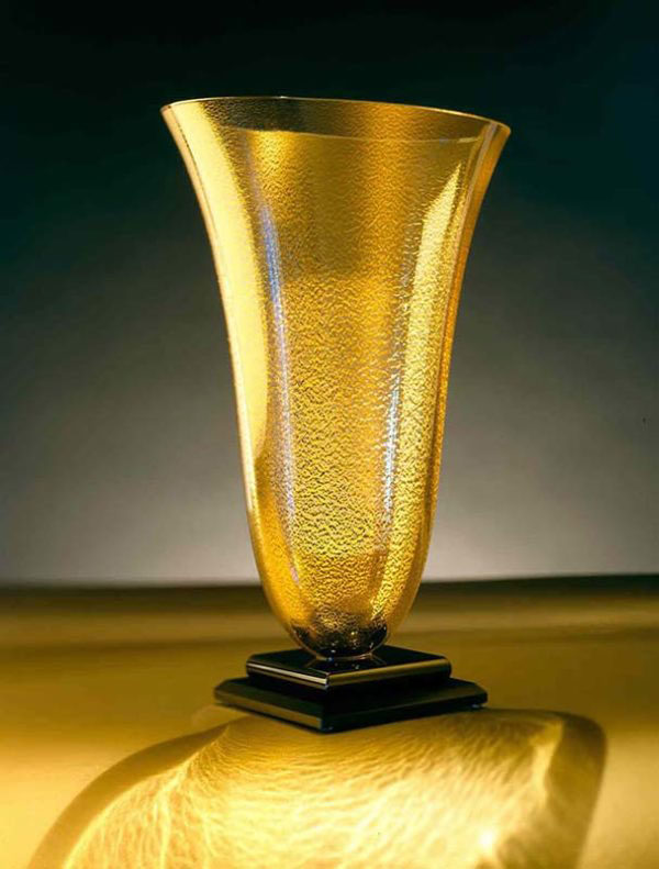 Gold Vase with Black Base by Stephen Schlanser at Art Leaders Gallery - Michigan's Finest Art Gallery