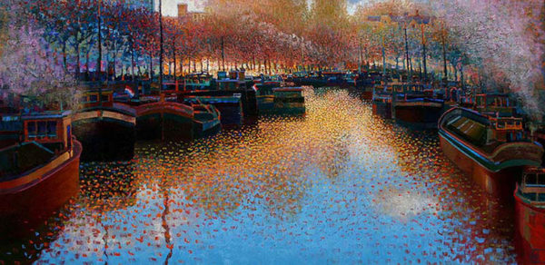 """Harbor Colors by Ton Dubbeldam at Art Leaders Gallery, voted """"Michigan's Best Fine Art Gallery"""" is located in the heart of West Bloomfield. This full service fine art gallery is the destination for all your art and custom picture framing needs. Our extensive inventory of art includes styles ranging from contemporary to traditional. The gallery represents international, national, and emerging new talent as well as local Michigan artists."""