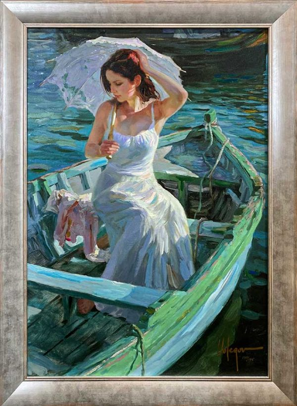 Figurative Painting of a Female on a Lake on a boat