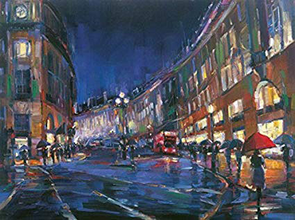 "London Rain by Michael Flohr at Art Leaders Gallery, voted ""Michigan's Best Fine Art Gallery"" is located in the heart of West Bloomfield. This full service fine art gallery is the destination for all your art and custom picture framing needs. Our extensive inventory of art includes styles ranging from contemporary to traditional. The gallery represents international, national, and emerging new talent as well as local Michigan artists."