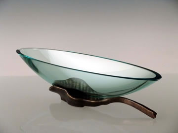 Long Oval Bowl with Bronze Leaf by Stephen Schlanser at Art Leaders Gallery - Michigan's Finest Art Gallery