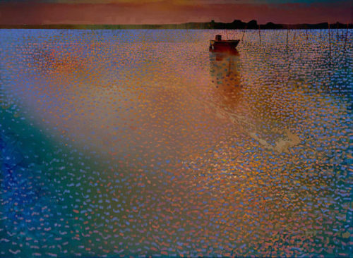 "Midnight on the Bay by Ton Dubbeldam at Art Leaders Gallery, voted ""Michigan's Best Fine Art Gallery"" is located in the heart of West Bloomfield. This full service fine art gallery is the destination for all your art and custom picture framing needs. Our extensive inventory of art includes styles ranging from contemporary to traditional. The gallery represents international, national, and emerging new talent as well as local Michigan artists."