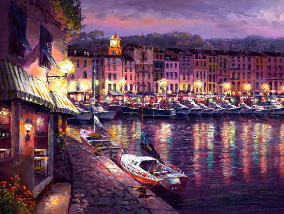 """Night View of St. Tropez"" by S. Sam Park at Art Leaders Gallery, voted ""Michigan's Best Fine Art Gallery"" is located in the heart of West Bloomfield. This full service fine art gallery is the destination for all your art and custom picture framing needs. Our extensive inventory of art includes styles ranging from contemporary to traditional. The gallery represents international, national and emerging new talent as well as local Michigan artists."