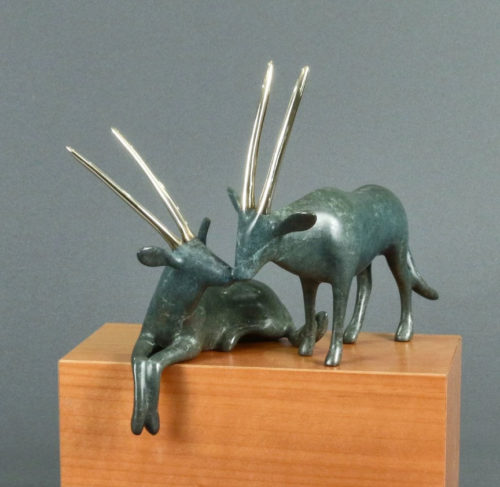 """Oryx Pair Sculpture 501 by Loet Vanderveen at Art Leaders Gallery, voted """"Michigan's Best Fine Art Gallery"""" is located in the heart of West Bloomfield. This full service fine art gallery is the destination for all your art and custom picture framing needs. Our extensive inventory of art includes styles ranging from contemporary to traditional. The gallery represents international, national and emerging new talent as well as local Michigan artists."""
