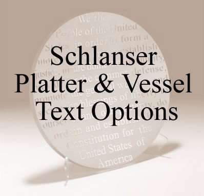 Platter and Vessel Text Options by Stephen Schlanser at Art Leaders Gallery - Michigan's Finest Art Gallery