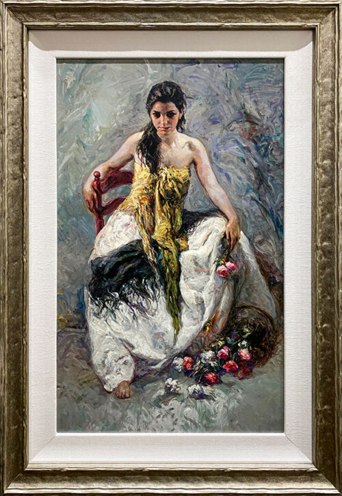 Oil Painting of Female and flowers