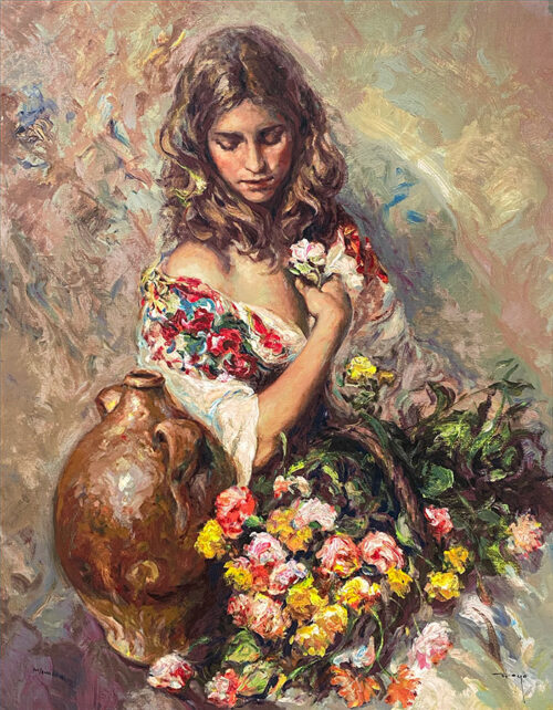 Impressionistic Painting of a Girl with Flowers