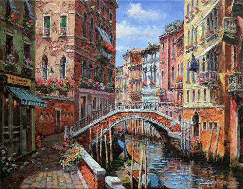 "Springtime in Venice by S. Sam Park at Art Leaders Gallery, voted ""Michigan's Best Fine Art Gallery"" is located in the heart of West Bloomfield. This full service fine art gallery is the destination for all your art and custom picture framing needs. Our extensive inventory of art includes styles ranging from contemporary to traditional. The gallery represents international, national and emerging new talent as well as local Michigan artists."