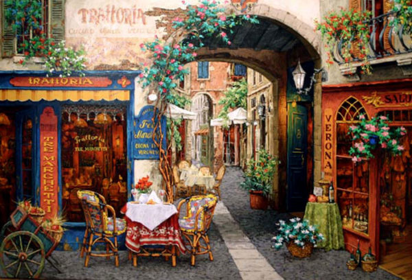 """Trattoria Tre Marchetti by Viktor Shvaiko at Art Leaders Gallery, voted """"Michigan's Best Fine Art Gallery"""" is located in the heart of West Bloomfield. This full service fine art gallery is the destination for all your art and custom picture framing needs. Our extensive inventory of art includes styles ranging from contemporary to traditional. The gallery represents international, national and emerging new talent as well as local Michigan artists."""