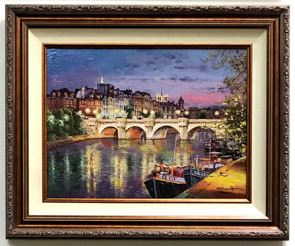 """Twilight at Pont Neuf by S. Sam Park at Art Leaders Gallery, voted """"Michigan's Best Fine Art Gallery"""" is located in the heart of West Bloomfield. This full service fine art gallery is the destination for all your art and custom picture framing needs. Our extensive inventory of art includes styles ranging from contemporary to traditional. The gallery represents international, national and emerging new talent as well as local Michigan artists."""