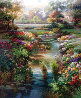 "Enchanted River III by Dae Chun Kim at Art Leaders Gallery, voted ""Michigan's Best Fine Art Gallery"" is located in the heart of West Bloomfield. This full service fine art gallery is the destination for all your art and custom picture framing needs. Our extensive inventory of art includes styles ranging from contemporary to traditional. The gallery represents international, national, and emerging new talent as well as local Michigan artists."
