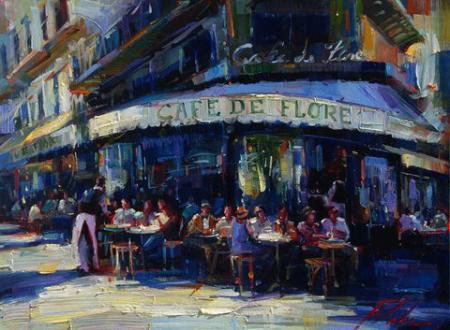 "Cafe De Flore by Michael Flohr at Art Leaders Gallery, voted ""Michigan's Best Fine Art Gallery"" is located in the heart of West Bloomfield. This full service fine art gallery is the destination for all your art and custom picture framing needs. Our extensive inventory of art includes styles ranging from contemporary to traditional. The gallery represents international, national, and emerging new talent as well as local Michigan artists."