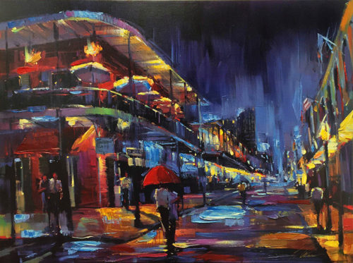 Nighttime painting of New Orleans