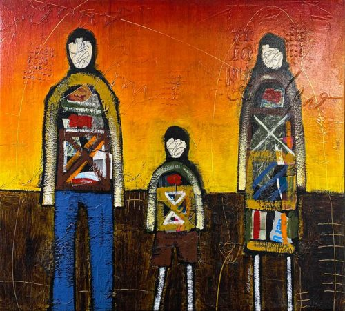 Bright Colored Family Oil Painting