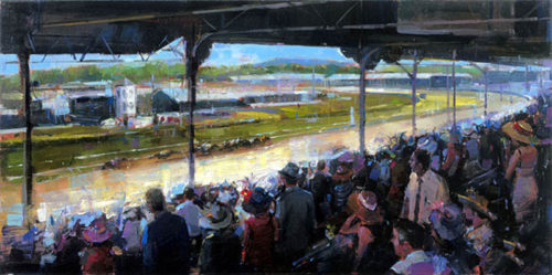 "Churchill Downs by Michael Flohr at Art Leaders Gallery, voted ""Michigan's Best Fine Art Gallery"" is located in the heart of West Bloomfield. This full service fine art gallery is the destination for all your art and custom picture framing needs. Our extensive inventory of art includes styles ranging from contemporary to traditional. The gallery represents international, national, and emerging new talent as well as local Michigan artists."