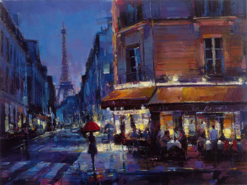"Parisian Rain by Michael Flohr at Art Leaders Gallery, voted ""Michigan's Best Fine Art Gallery"" is located in the heart of West Bloomfield. This full service fine art gallery is the destination for all your art and custom picture framing needs. Our extensive inventory of art includes styles ranging from contemporary to traditional. The gallery represents international, national, and emerging new talent as well as local Michigan artists."