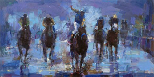 "Win at the Preakness by Michael Flohr at Art Leaders Gallery, voted ""Michigan's Best Fine Art Gallery"" is located in the heart of West Bloomfield. This full service fine art gallery is the destination for all your art and custom picture framing needs. Our extensive inventory of art includes styles ranging from contemporary to traditional. The gallery represents international, national, and emerging new talent as well as local Michigan artists."