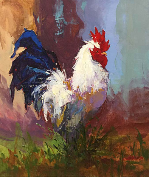 "Rooster III by P. Charles at Art Leaders Gallery, voted ""Michigan's Best Fine Art Gallery"" is located in the heart of West Bloomfield. This full service fine art gallery is the destination for all your art and custom picture framing needs. Our extensive inventory of art includes styles ranging from contemporary to traditional. The gallery represents international, national, and emerging new talent as well as local Michigan artists."