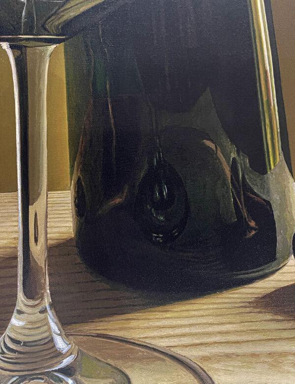 Photorealistic painting of wine bottles