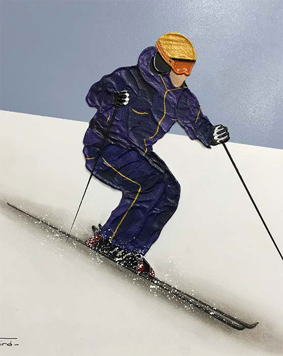 """Alpine Skier I by Nuria Miro at Art Leaders Gallery, voted """"Michigan's Best Fine Art Gallery"""" is located in the heart of West Bloomfield. This full service fine art gallery is the destination for all your art and custom picture framing needs. Our extensive inventory of art includes styles ranging from contemporary to traditional. The gallery represents international, national, and emerging new talent as well as local Michigan artists."""