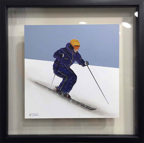 "Alpine Skier I by Nuria Miro at Art Leaders Gallery, voted ""Michigan's Best Fine Art Gallery"" is located in the heart of West Bloomfield. This full service fine art gallery is the destination for all your art and custom picture framing needs. Our extensive inventory of art includes styles ranging from contemporary to traditional. The gallery represents international, national, and emerging new talent as well as local Michigan artists."