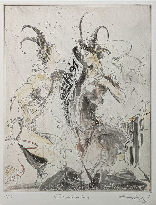 Figurative Etching of Capricorn Astrology
