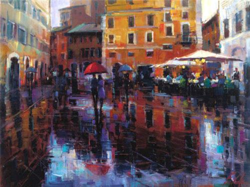 "Romance in the Rain by Michael Flohr at Art Leaders Gallery, voted ""Michigan's Best Fine Art Gallery"" is located in the heart of West Bloomfield. This full service fine art gallery is the destination for all your art and custom picture framing needs. Our extensive inventory of art includes styles ranging from contemporary to traditional. The gallery represents international, national, and emerging new talent as well as local Michigan artists."