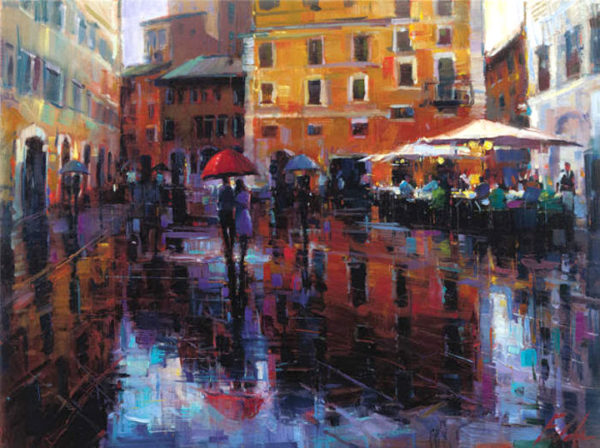 """Romance in the Rain by Michael Flohr at Art Leaders Gallery, voted """"Michigan's Best Fine Art Gallery"""" is located in the heart of West Bloomfield. This full service fine art gallery is the destination for all your art and custom picture framing needs. Our extensive inventory of art includes styles ranging from contemporary to traditional. The gallery represents international, national, and emerging new talent as well as local Michigan artists."""