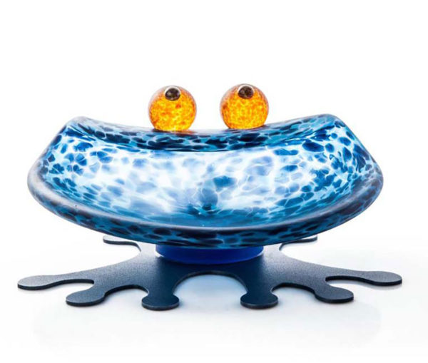 """""""Hopper Bowl"""" in Blue by Borowski Glass Studio. Art Leaders Gallery, voted """"Michigan's Best Fine Art Gallery"""" is located in the heart of West Bloomfield. This full service fine art gallery is the destination for all your art and custom picture framing needs. Our extensive inventory of art includes styles ranging from contemporary to traditional. The gallery represents international, national, and emerging new talent as well as local Michigan artists."""