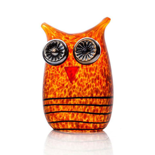 """""""Owl Paperweight"""" shown in Amber by Borowski Glass Studio. Art Leaders Gallery, voted """"Michigan's Best Fine Art Gallery"""" is located in the heart of West Bloomfield. This full service fine art gallery is the destination for all your art and custom picture framing needs. Our extensive inventory of art includes styles ranging from contemporary to traditional. The gallery represents international, national, and emerging new talent as well as local Michigan artists."""