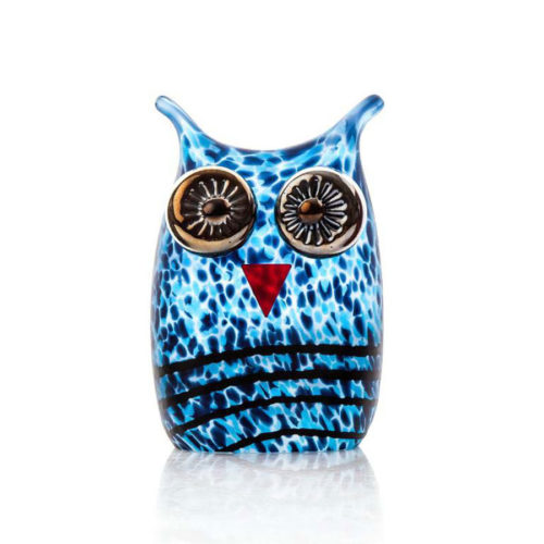 """Owl Paperweight"" shown in Blue by Borowski Glass Studio. Art Leaders Gallery, voted ""Michigan's Best Fine Art Gallery"" is located in the heart of West Bloomfield. This full service fine art gallery is the destination for all your art and custom picture framing needs. Our extensive inventory of art includes styles ranging from contemporary to traditional. The gallery represents international, national, and emerging new talent as well as local Michigan artists."
