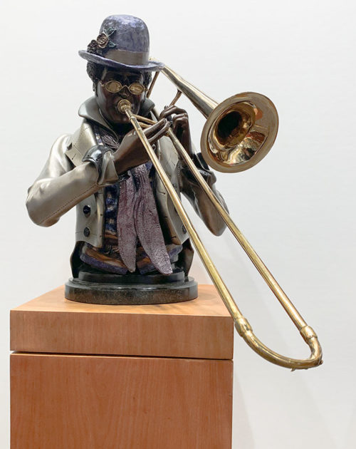 "Slide Trombonist by A. Mathews at Art Leaders Gallery, voted ""Michigan's Best Fine Art Gallery"" is located in the heart of West Bloomfield. This full service fine art gallery is the destination for all your art and custom picture framing needs. Our extensive inventory of art includes styles ranging from contemporary to traditional. The gallery represents international, national and emerging new talent as well as local Michigan artists."