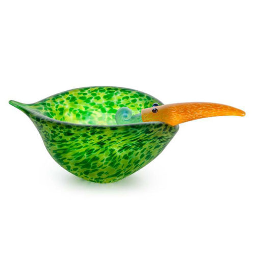 """""""Tweedy Bowl"""" Shown in Green by Borowski Glass Studio. Art Leaders Gallery, voted """"Michigan's Best Fine Art Gallery"""" is located in the heart of West Bloomfield. This full service fine art gallery is the destination for all your art and custom picture framing needs. Our extensive inventory of art includes styles ranging from contemporary to traditional. The gallery represents international, national, and emerging new talent as well as local Michigan artists."""
