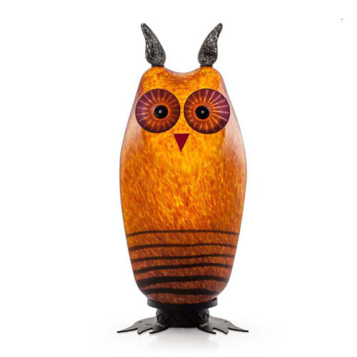 """""""Tawny Owl Lamp"""" Shown in Amber by Borowski Glass Studio. Art Leaders Gallery, voted """"Michigan's Best Fine Art Gallery"""" is located in the heart of West Bloomfield. This full service fine art gallery is the destination for all your art and custom picture framing needs. Our extensive inventory of art includes styles ranging from contemporary to traditional. The gallery represents international, national, and emerging new talent as well as local Michigan artists."""