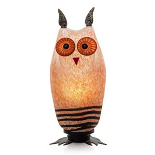 """""""Tawny Owl Lamp"""" Shown in Rose by Borowski Glass Studio. Art Leaders Gallery, voted """"Michigan's Best Fine Art Gallery"""" is located in the heart of West Bloomfield. This full service fine art gallery is the destination for all your art and custom picture framing needs. Our extensive inventory of art includes styles ranging from contemporary to traditional. The gallery represents international, national, and emerging new talent as well as local Michigan artists."""