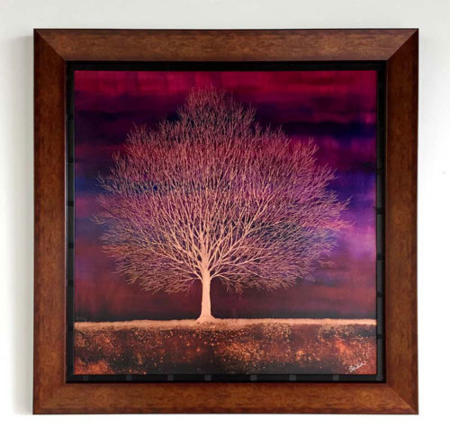 "Tree of Life in Sunset Purple by Nakisa Seika at Art Leaders Gallery, voted ""Michigan's Best Fine Art Gallery"" is located in the heart of West Bloomfield. This full service fine art gallery is the destination for all your art and custom picture framing needs. Our extensive inventory of art includes styles ranging from contemporary to traditional. The gallery represents international, national, and emerging new talent as well as local Michigan artists."