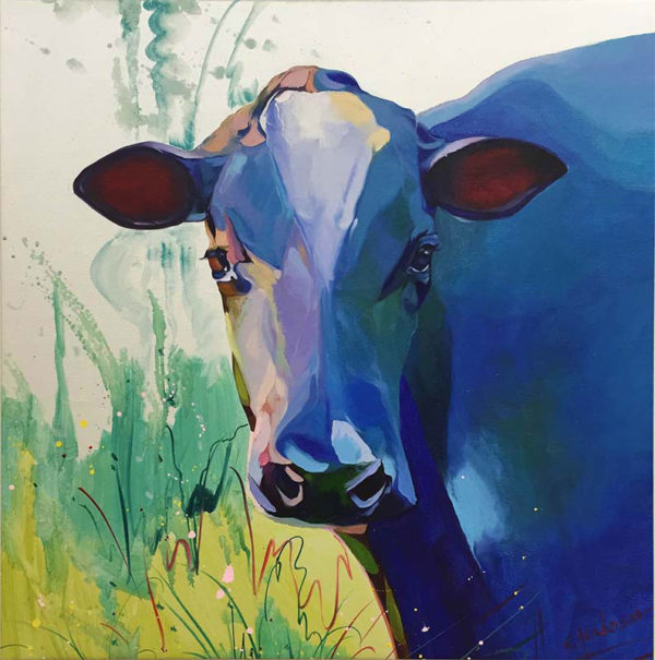 """Blue Cow by R. Henderson at Art Leaders Gallery, voted """"Michigan's Best Fine Art Gallery"""" is located in the heart of West Bloomfield. This full service fine art gallery is the destination for all your art and custom picture framing needs. Our extensive inventory of art includes styles ranging from contemporary to traditional. The gallery represents international, national, and emerging new talent as well as local Michigan artists."""