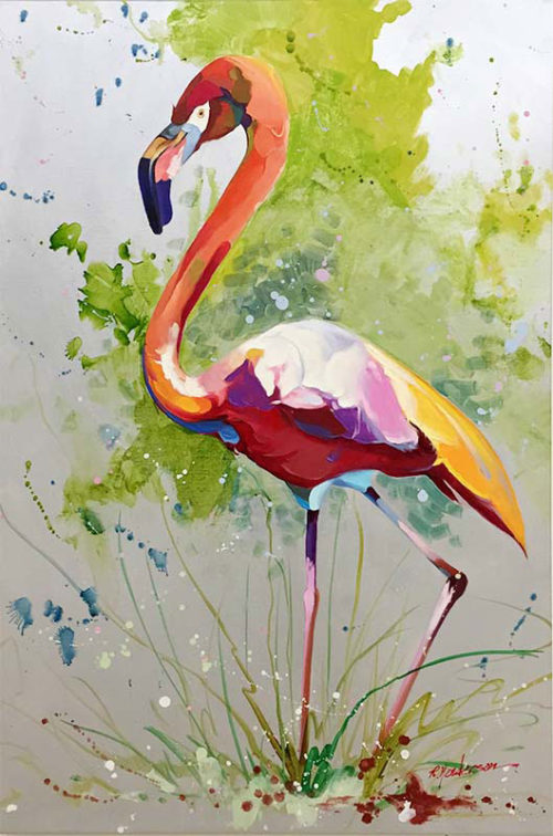 "Hot Flamingo by R. Henderson at Art Leaders Gallery, voted ""Michigan's Best Fine Art Gallery"" is located in the heart of West Bloomfield. This full service fine art gallery is the destination for all your art and custom picture framing needs. Our extensive inventory of art includes styles ranging from contemporary to traditional. The gallery represents international, national, and emerging new talent as well as local Michigan artists."
