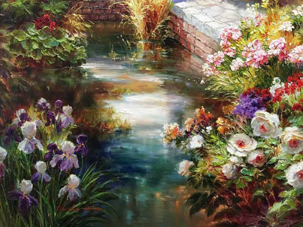 "Sunlit Garden by Dae Chun Kim at Art Leaders Gallery, voted ""Michigan's Best Fine Art Gallery"" is located in the heart of West Bloomfield. This full service fine art gallery is the destination for all your art and custom picture framing needs. Our extensive inventory of art includes styles ranging from contemporary to traditional. The gallery represents international, national, and emerging new talent as well as local Michigan artists."